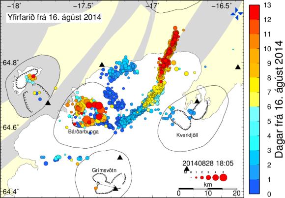 Manuaalisesti tarkistetut maanjäristykset. Värikoodi kertoo ajanhetken alkuhetkestä. Kuva: IMO
