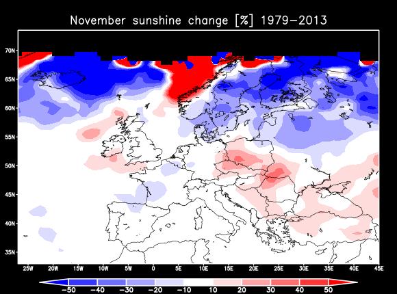 Auringonpaistetuntien %-muutos 1979-2013 (data: ERA-Interim).